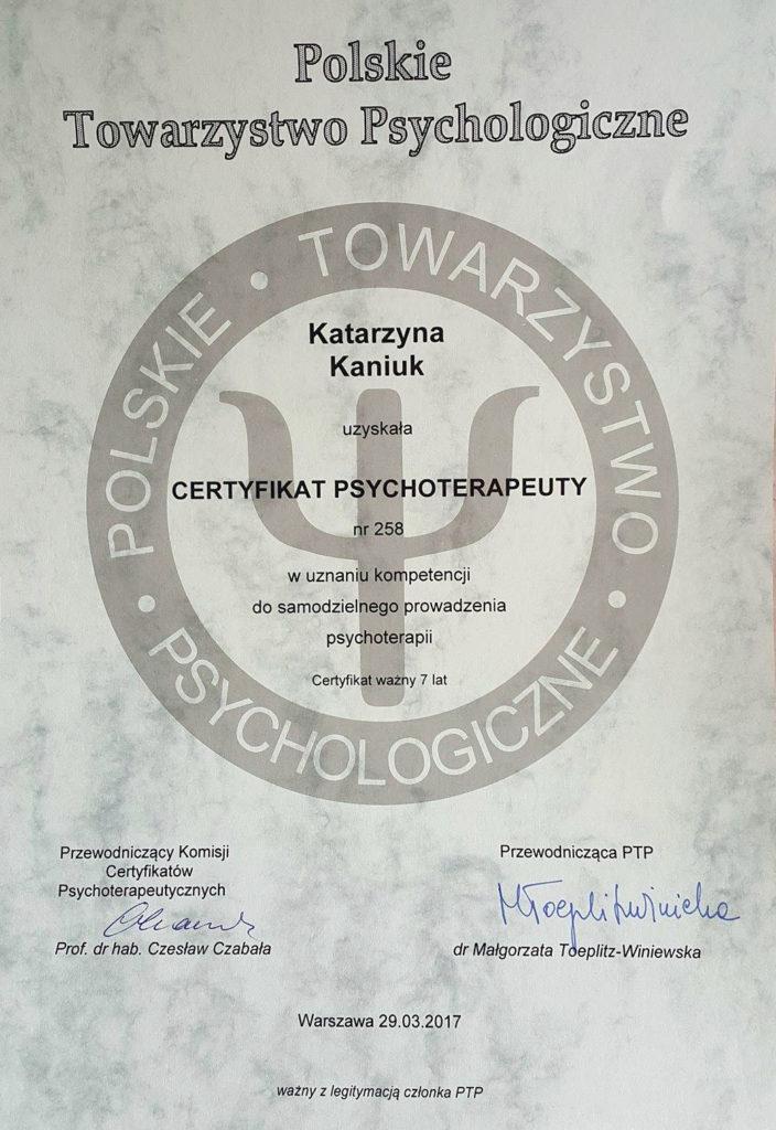certyfikat Polskiego Towarzystwa Psychologicznego Katarzyna Kaniuk